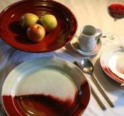 copper red table ware