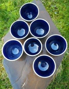 deep blue tea bowls
